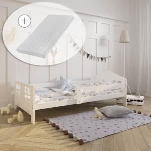 Hausbett Kinderbett Jugendbett 80x160 Matratze optional wei fr Mdchen und Jungen Massivholz Vollholz Kiefer
