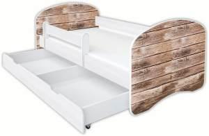 Clamaro 'Schlummerland Dekor' Kinderbett 80x180 cm, Design 16, inkl. Lattenrost, Matratze, Rausfallschutz und Schublade