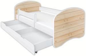 Clamaro 'Schlummerland Dekor' Kinderbett 80x180 cm, Design 11, inkl. Lattenrost, Matratze, Rausfallschutz und Schublade