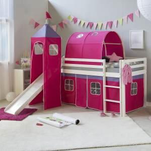 Hochbett Spielbett Kinderbett Rutsche Turm Vorhang rot 90x200