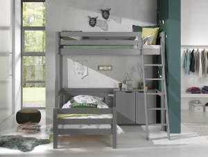 Vipack Winkel Hochbett mit 2 Liegeflächen 90 x 200 cm und 2-trg. Kommode, Ausf. grau lackiert