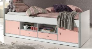 Bonny Kojenbett Jugendbett Bettgestell Kinderbett Bett 90 x 200 cm Weiß / Rosa, inkl. Matratze Softdeluxe