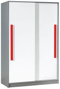 Kleiderschrank Olaf 13, Anthrazit / Weiß / Rot, teilmassiv