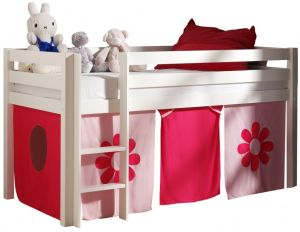Pino Halbhochbett Weiß lackiert 90x200 cm Rosa-Flower Softdeluxe