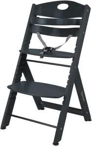BabyGO 'Family XL' Hochstuhl, schwarz, Buche massiv, höhenverstellbar, inkl. Gurt und Sicherheitsbügel