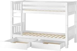 Erst-Holz 60.06-09 Etagenbett 90x200 cm, weiß, Kiefer massiv, inkl. Rollroste und 2 Bettkästen