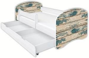 Clamaro 'Schlummerland Dekor' Kinderbett 80x180 cm, Design 5, inkl. Lattenrost, Matratze, Rausfallschutz und Schublade