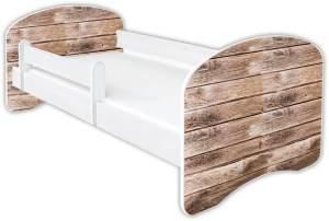 Clamaro 'Schlummerland Dekor' Kinderbett 80x180 cm, Design 16, inkl. Lattenrost, Matratze und Rausfallschutz (ohne Schublade)