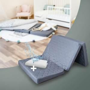 Alcube Reisebett Matratze 120 60 Klappbar - Set mit Matratzenauflage – für Baby Reisebett / Gästematratze SCHWARZ