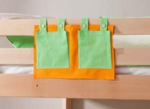 Stofftasche Seitentasche Hängetasche für Hochbett Etagenbett Grün/Orange