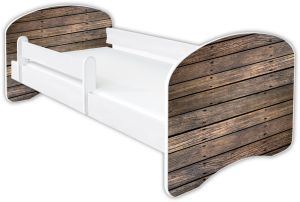 Clamaro 'Schlummerland Dekor' Kinderbett 80x180 cm, Design 2, inkl. Lattenrost, Matratze und Rausfallschutz (ohne Schublade)