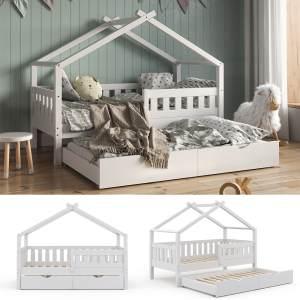 VitaliSpa 'Design' Hausbett 80x160 cm, weiß, Kiefer massiv, inkl. Lattenrost und Gästebett