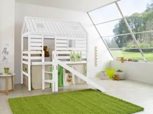 Relita 'Tom´s Hütte' Hochbett inkl.Stoffset 'Dschungel'
