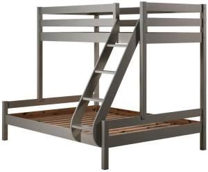 Vipack 'Martin' Etagenbett, grau, 90x200/140x200 cm, Kiefer massiv, inkl. Lattenroste