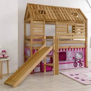 Relita Hausbett BERGEN-13 mit Rutsche und Textilset Disney Hello Kitty