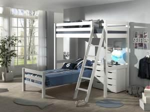 Vipack Winkel Hochbett mit 2 Liegeflächen 90 x 200 cm und Schubladen Kommode, Ausf. weiß lackiert