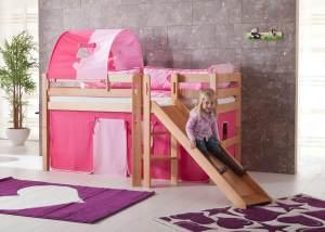 Relita 'Eliyas' Spielbett mit Rutsche und Textilset Vorhang, 1-er Tunnel und Tasche pink/herz