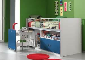 Kinderbett Jugendbett Bonny 90 x 200 cm Weiß / Blau, inkl. Matratze Basic
