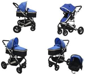 Babyfivestar Kombikinderwagen 3 in 1 Blau / Schwarz inkl. Sportsitz mit Babywanne und Babyschale