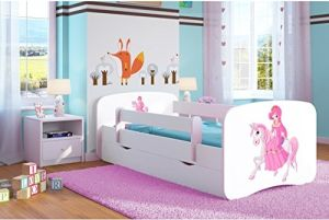 Kocot Kids 'Prinzessin auf dem Pony' Einzelbett weiß 80x160 cm inkl. Rausfallschutz, Matratze, Schublade und Lattenrost