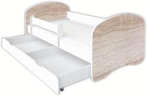 Clamaro 'Schlummerland Dekor' Kinderbett 80x180 cm, Design 21, inkl. Lattenrost, Matratze, Rausfallschutz und Schublade