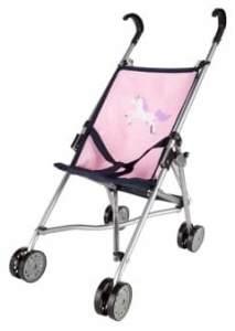 Besttoy - Puppenbuggy - dunkelblau/rosa mit Einhornmotiv