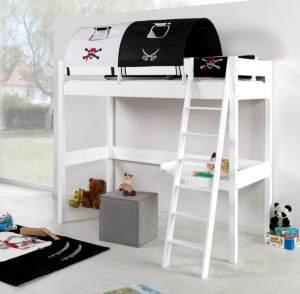 Relita 'RENATE' Multifunktionsbett mit Schreibtisch weiß, Stoffset 'Pirat' mit Matratze