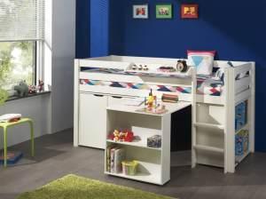 Pino 3-teiliges Kinderzimmerset Jugendzimmerset Kindermöbel Jugendmöbel 2 Weiß lackiert, inkl. Matratze Softdeluxe