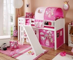 Ticaa Podestbett mit Rutsche Ekki Kiefer massiv Weiß-Horse Pink