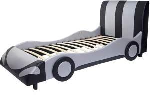 Mendler Autobett Kunstleder/Holz schwarz-silber 190x100cm