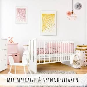 Babybett mit Matratze 60x120 cm hhenverstellbar & herausnehmbare Sprossen | Gitterbett Kinderbett sehr stabil und maximale Sicherheit inkl. Lattenrost 120 x 60 cm