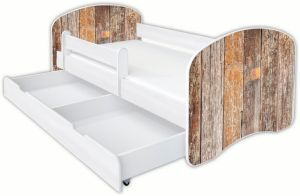 Clamaro 'Schlummerland Dekor' Kinderbett 80x180 cm, Design 6, inkl. Lattenrost, Matratze, Rausfallschutz und Schublade