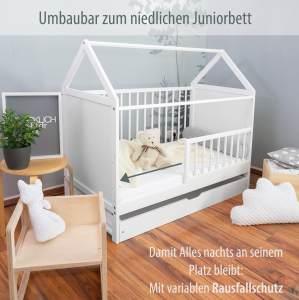 "ALCUBE Babybett ""Charlie"" 60x120 cm - Gitterbett umbaubar zum Haus Kinderbett"