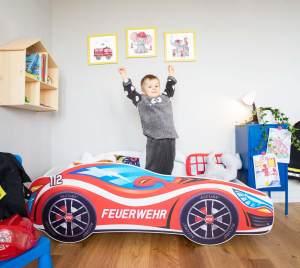 Alcube 'Feuerwehr' Autobett 160 x 80 cm inkl. Lattenrost und Matratze, rot