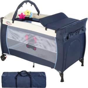 tectake 'Elefant' Reisebett, Blau, höhenverstellbar, mit Schlupf, inkl. Wickelauflage und Spielbogen