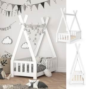 VitaliSpa 'Tipi' Kinderbett, Weiß, 70 x 140 cm, inkl. Rausfallschutz und Lattenrost, Buche massiv