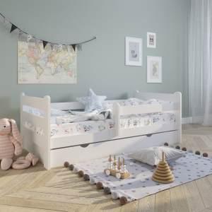 Kinderbett 80x160 cm mit Rausfallschutz Voll-Holz inkl. Matratze Lattenrost & Schublade in wei Kiefer 160 x 80 Mdchen Jungen Bett Skandi