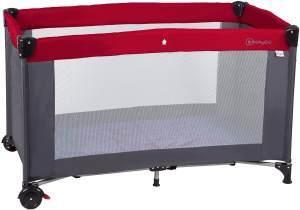 BabyGO 'Sleeper Neo' Reisebett 60x120 cm, rot, mit Rädern, Schlupfloch, Tasche und Reisebettmatratze