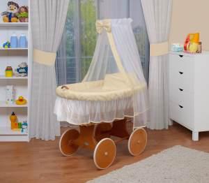 WALDIN Stubenwagen-Set mit Ausstattung Gestell/Räder natur lackiert, Ausstattung beige/gelb/weiß
