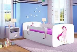 Kocot Kids 'Einhorn' Einzelbett weiß 70x140 cm inkl. Rausfallschutz, Matratze, Schublade und Lattenrost