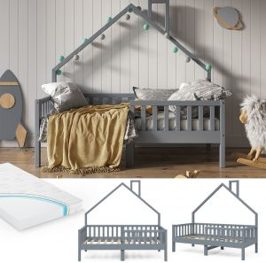 VitaliSpa 'Noemi' Hausbett grau, 80x160cm, Massivholz Kiefer, inkl. Matratze, Lattenrost und Rausfallschutz