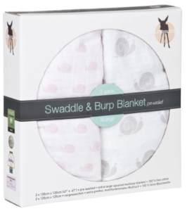 Lässig 'Swaddle & Burp Blanket XL' 2-er Pack Pucktücher Sweet Snail Girls