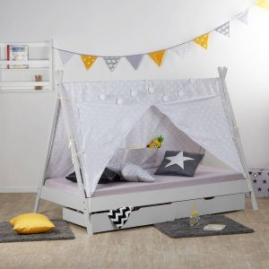Homestyle4u 'TIPI' Kinderbett, grau, 90x200 cm, inkl. 2 Bettkästen, Lattenrost und Stoffüberwurf, Kiefernholz