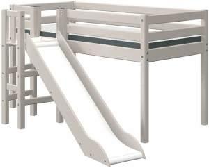 Flexa Classic Halbhochbett mit Plattform und Rutsche 90 x 190 cm Grau