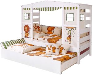Ticaa 'Safari' Hausbett weiß inkl. Bettkasten 'Marianne'