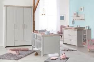 Roba 'Helene' 3-tlg. Babyzimmer-Set, inkl. Kombi-Bett 70 x 140 cm, Wickelkommode und 3-türigem Schrank, Lichtgrau