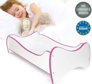 Alcube 'Swinging Pink Edge' Kinderbett 140 x 70 cm inkl. Rausfallschutz, Lattenrost und Matratze, weiß