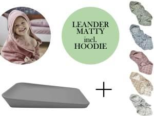 Leander Matty Wickelauflage + Hoodie Kapuzenhandtuch + Topper Dusty Grey Cool Grey