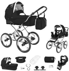 Bebebi Loving | 2 in 1 Kombi Kinderwagen | Nostalgie Kinderwagen | Farbe: Black Ardent