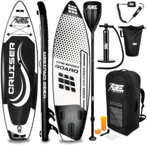 RE:SPORT® SUP Board 380cm Schwarz aufblasbar Stand Up Paddle Set Surfboard Paddling Premium